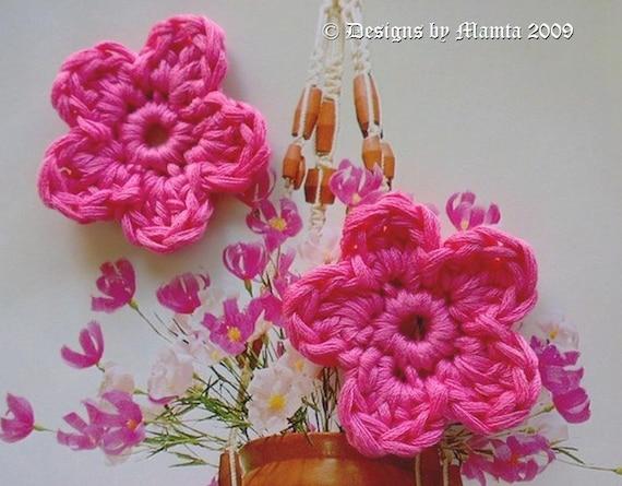 Crochet Applique Pattern, 5 Petals Flower, Crochet Flower Pattern ...