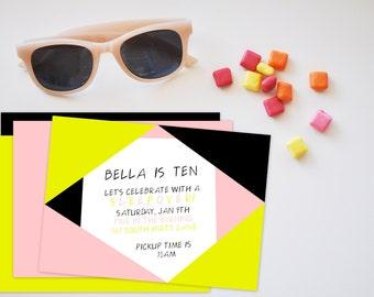 Neon Triangles Birthday Invitation with Back, Neon Invite, Retro Neon Triangles Invite, Birthday Invite, Printable Invitation