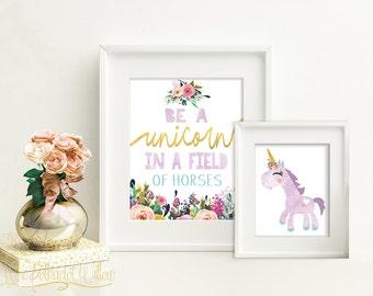 8x10 11x14 Unicorn print set, unicorn watercolor, unicorn wall art, unicorn art, unicorn decor, unicorn nursery, Purple unicorn printable