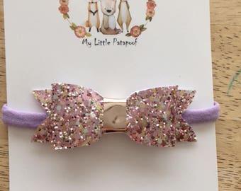 Purple glitter bow - purple nylon headband