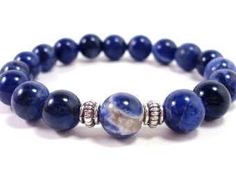 Sodalite Bracelet,Womens Bracelet,Gemstone Bracelet,Bracelet for Women, Gift for Women,Natural Sodalite Gemstone Bracelet + Gift Box