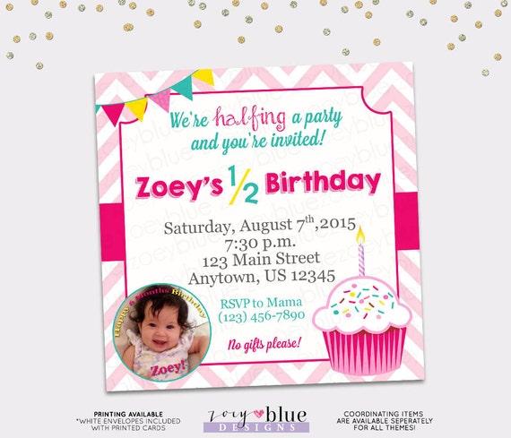 Half birthday party invitation girl cupcake 6 month birthday filmwisefo