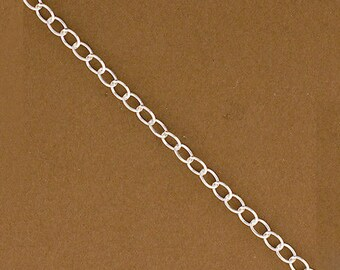Sterling Silver Extension Chain .925 Sterling Silver Chain by the Foot, Cable Chain, Made in Italy, #2207