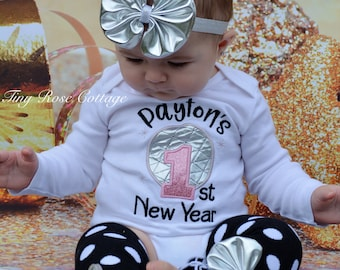 My first New Years Outfit, with Baby's Name - Body Suit Embroidered