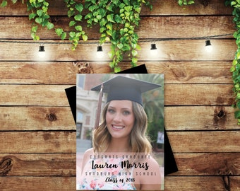Perfectly Graceful Graduation Photo Magnets, personalized gift, graduation, photo magnets, high school, college, class of 2018 + Envelopes