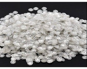 1000 silver bead caps 8mm