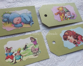 Vintage children's booklets 4 colorful book-fragment gift-tags! Drawings literary cards scrapbooking bookmark DIY