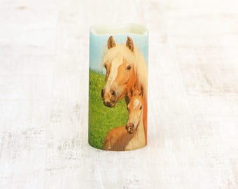 Horse And Foal Flameless Decorative Candle, Horse Lovers Candle Gift, Equestrian Home Decor, LED Flameless Candle, Equestrian Gift