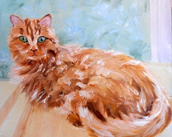 Orange Cat Portrait Oil Painting, customized from your photos, by Artist Robin Zebley, Custom Portrait Art, CustomPortraitArt