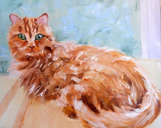 Orange Cat Portrait Oil Painting, customized from your photos, by Artist Robin Zebley, Custom Portrait Art, CustomPortraitArt