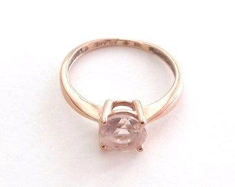Morganite and Rose Gold Ring Solitaire Engagement or Right Hand Ring at One Carat