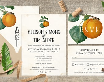 Vintage wedding invitation template, Floral invites, Peach orange wedding, Printable wedding invitation, Custom Botanical wedding invites