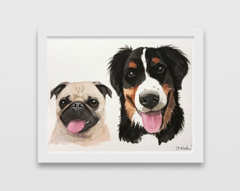 MULTI Custom pets portrait watercolor Original watercolor painting custom dog portrait from photo dog Painting Memorial Art Custom Gift for