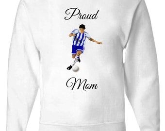 """Proud Mom Clothing - Mother's Day Clothing - Mother's Day Gift """"Proud Soccer Mom"""" White Zip Hoodie - Women's zip hoodie - Women's clothing"""
