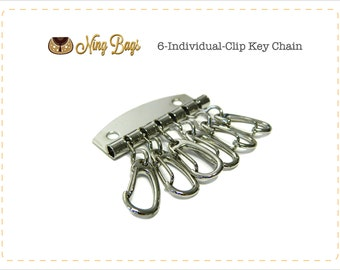 Set of 2 // 6-Individual-Clip Key chain Holder, Key Chain Holder, Key Clip Hardware, Key Organizer Hardware in Nickel Finish (NEW)