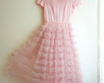 "Vintage 1950's Pink Tulle Dress, Prom Formal Party Circle Skirt with Ruffles, Size Small, 25"" Waist, 35"" Bust"
