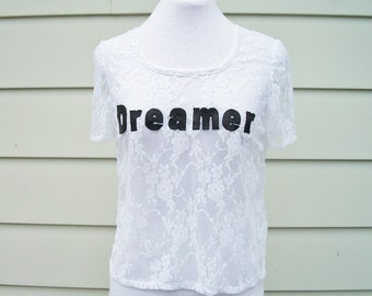 Dreamer Lace T-Shirt in Bright White - Cute Summer Tee. White Lace Top. Leather and Lace Top. One Size.
