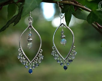 Labradorite, iolite and sodalite • inner flow earrings