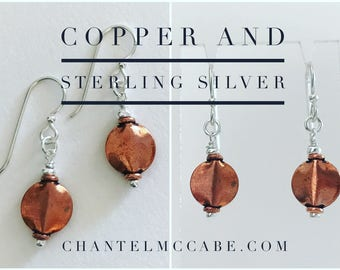 Copper and sterling silver earrings with french hooks, Perth Western Australia