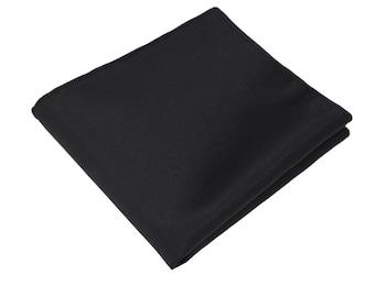 Ultimate Black Pocket Square.Silk Pocket Square.Black Handkerchief.