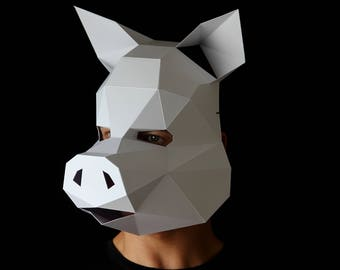 PIG Mask - Make a pig head mask with this PDF template