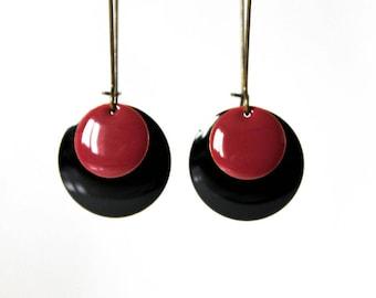 Earrings raspberry black Sequins