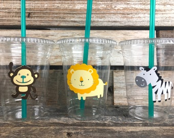 Safari Jungle Party Cups - First Birthday, Baby Shower, Birthday Party, Jungle Safari Baby Shower