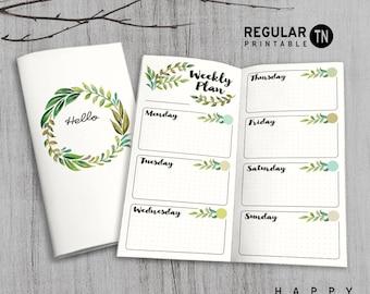 Printable MTN Insert - Regular Undated Weekly Insert - Midori weekly insert, Weekly Traveler's Notebook Insert - Green Leaves
