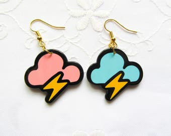Mismatched Cloud Earrings / Kawaii Earrings / 80s / 90s / Cute / Fun / Resin / Earrings