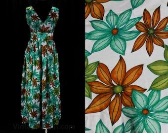 Size 10 Sun Dress - 1960s Green Daisy Print Summer Empire Maxi - Soft Silky Lightweight - 60s Sleeveless Dress & Sashes - Bust 36 - 47401