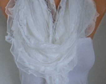 Valentine's Gift,Off White Lace Scarf ,Shawl,Wedding Scarf, Bridal Scarf, Bridesmaid Gifts, Gift Ideas For Her, Women Fashion Accessories