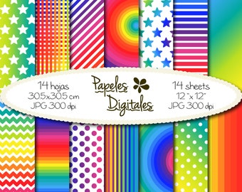 "Rainbow Digital Papers - Colorful Bright Colors Digital Backgrounds / Printable Paper in Brights - 14x Instant Download 12""x12"" JPG 300dpi"