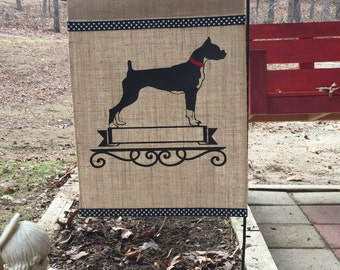 Boxer/Dog/Boxer Dog Garden Flag/Boxer Burlap Garden Flag/Personalized Garden Flag/Lawn Decor
