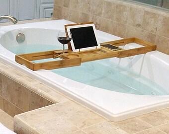 Bamboo Bathtub Caddy, Bathroom Accessory, Spa Gift, IPad Holder, Bathtub  Phone Holder