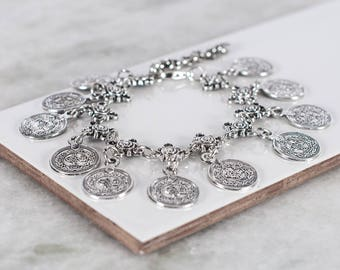 Antique Silver Lucky Coin Anklet