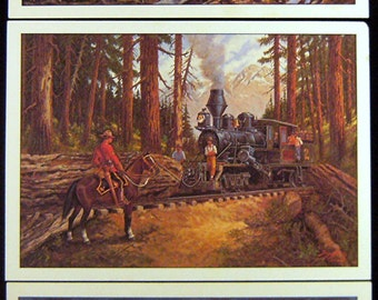 3 Vintage OLD WEST Lithographs by Andy Dagosta