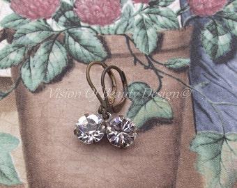 Estate Style Swarovski Crystal Clear Drop Earrings