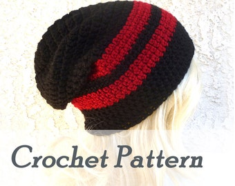 Instant Download Crochet Pattern Slouchy Beanie Mens Beanie Hat Beginner hat Crocheted beanie Slouch Hat sports team colors tailgating hat