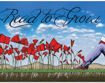 Literacy Art Print. Read to Grow. Reading Motivational Poster