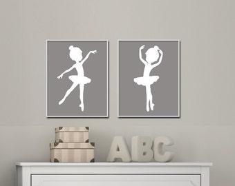Baby Girl Nursery Art Print, Ballerina Nursery Wall Art Prints, Grey Nursery Art, Bedroom Decor - H769