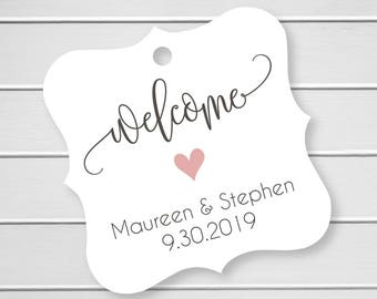 Welcome Wedding Printed Cardstock Wedding Tags, Wedding Favor Tags, Favor Tags, Party Favor Tags (FS-029)