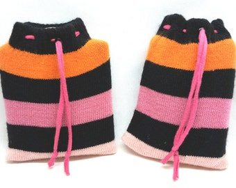Flask Jackets, Cozy, Cover, Warmer, Sweater, Hip, Pocket, Purse, Liquor, Upcycled, Recycled Sock, Stripes, Pink, Gray, Orange, Blue