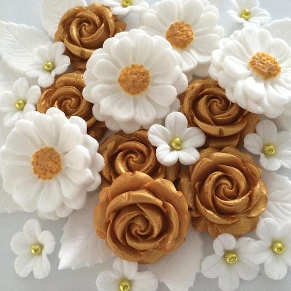 GOLDEN WEDDING BOUQUET edible sugar paste flowers cake decorations ...