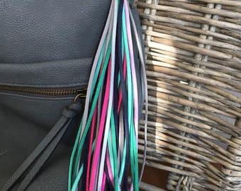 """Tassel Keychain, Bag Charm - Large Tassel  8.5"""" + clip - Fringe Tassel Keychain, Tassel for Purse, Boho Keychain, Gift for Her (LT111)"""