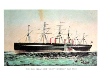 Currier and Ives Print - The Iron Steamship Great Eastern, A Night on the Hudson - 1968 Vintage Book Page - 12 x 9