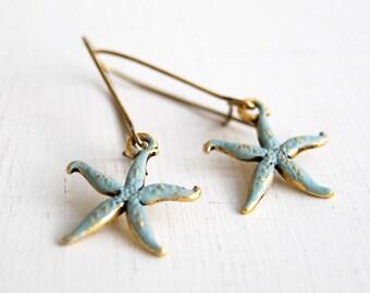 Starfish Earrings, Blue Verdigris Patina Antiqued Gold  Starfish Earrings, Starfish Jewelry, Beach Wedding Earrings, Gift for Her