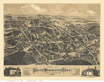 South Manchester Connecticut 1880 Birds Eye View CT Reprint