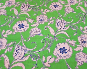 Lilly Pulitzer Fabric Winslow by Zuzek Key West Hand Print Fabric 1 yard Green Blue White Floral