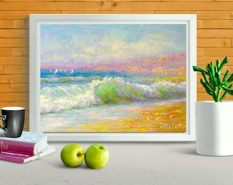 "Sailboat original oil painting 10x15"" sunny seascape impressionism ocean painting fine art home sitting room hall interior decor salatov"