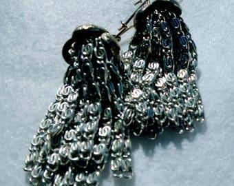 10694 Tassel Earrings, silvertone